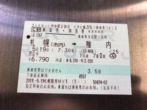 特急宗谷 切符